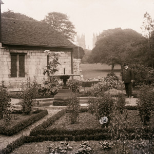 The formal gardens and fountain that were behind the Hospitium (c.1913)