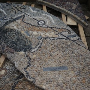 The mosaic was made by hand in sections.