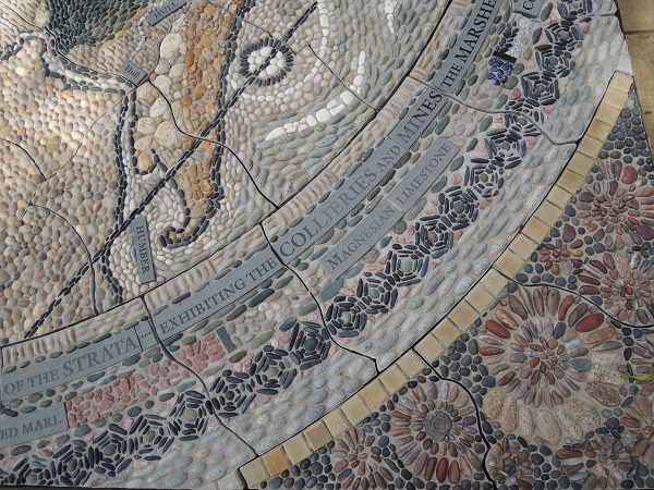 A close-up of the intricate mosaic map.