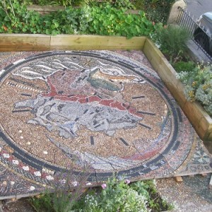 The completed mosaic map ready for installation.
