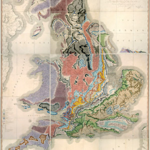 The original geological map created by William Smith, 1815.